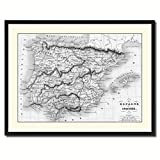 Spain Portugal Old B&W Map 37011 Picture Frame Gift Ideas Office Décor Bedroom Livingroom Gameroom Housewarming Birthday - Black 28'' x 37''