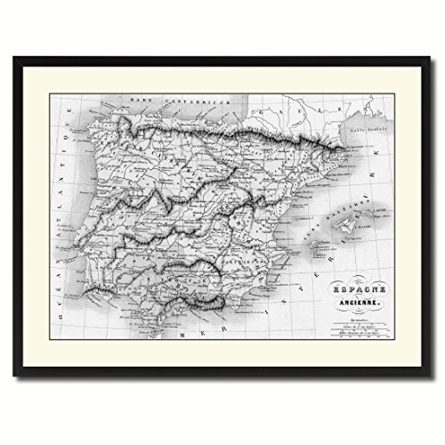 Spain Portugal Old B&W Map 37011 Picture Frame Gift Ideas Office Décor Bedroom Livingroom Gameroom Housewarming Birthday - Black 28'' x 37'' by AllChalkboard