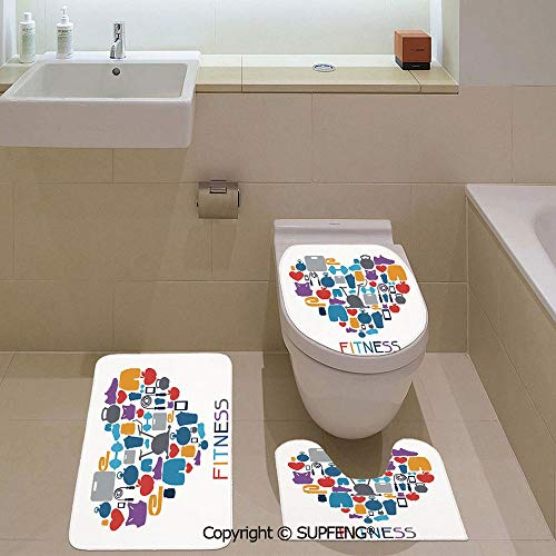 Three-Piece Toilet seat pad Custom Sports and Healthcare Icons Forming a Heart Shape Clean Eating Athletic Training Decorative Rug + Lid Toilet Cover + Bath Mat/Non-Slip/Pedestal Digital Print