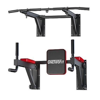 Amazon Com Onetwofit Multifunctional Wall Mounted Pull Up Bar