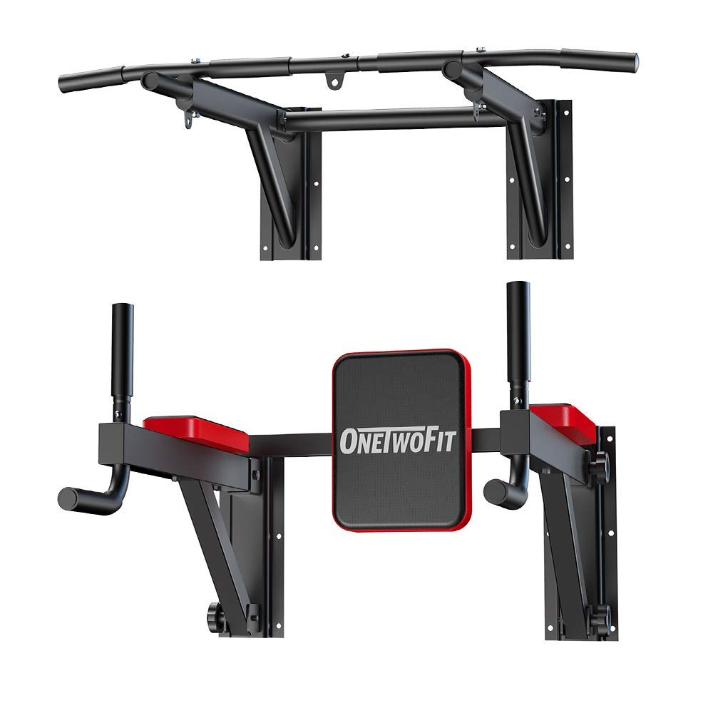 OneTwoFit Multifunctional Wall Mounted Pull Up Bar Power Tower Set Chin Up Station Home Gym Workout Strength Training Equipment Fitness Dip Stand Supports to 330 Lbs OT076