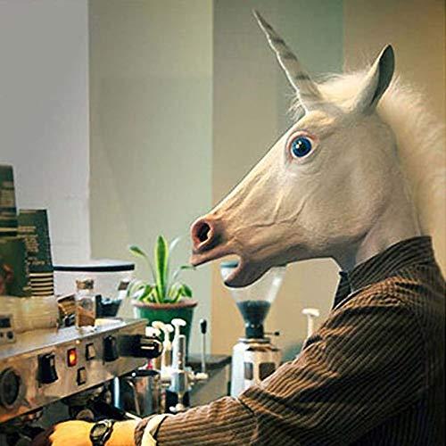 DeemoShop Creepy Unicorn Horse Unicorn Head Mask Halloween Cosplay Costume White Halloween Party Decoration for $<!--$42.33-->