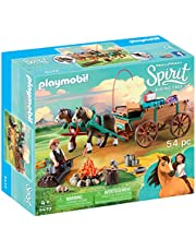 PLAYMOBIL® Entertainment Earth Spirit Riding Free Lucky's Dad with Covered Wagon Toy, Multicolor