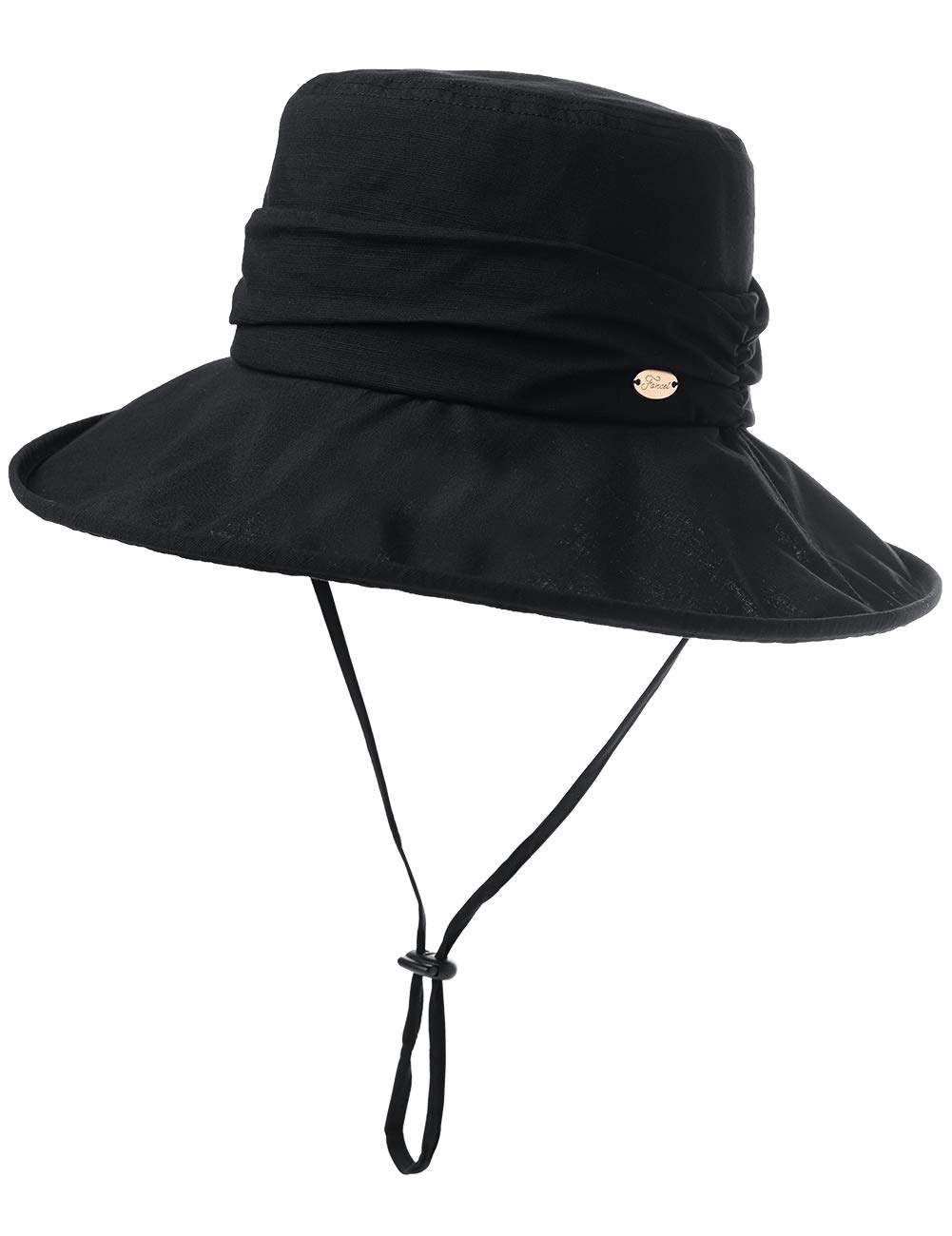 Comhats Fishing Summer Bucket Hat for Women Beach Cotton Foldable Packable Wide Brim Ladies Sunhat Outdoor Black