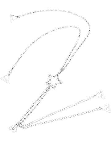 FENICAL mujeres decorativas brillantes espalda estrella correas del sujetador de diamantes de imitación correa de la