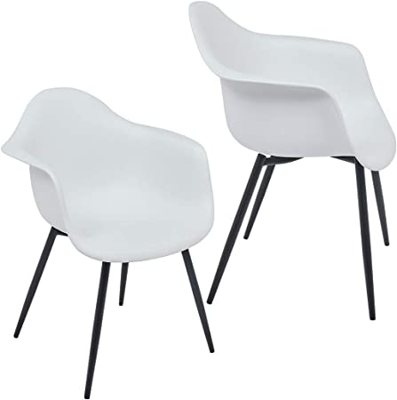 Duhome Set di 2 Sedia da Sala da Pranzo in plastica Bianco