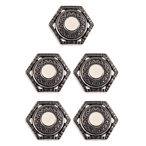 Mibo ABS Metal Plated Shank Button Ancient Greek Design Antique Nickel with White Epoxy 48 Line 5 Pack ()