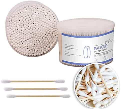 500 Count Double Round Buds Cotton Swabs With Nature Bamboo Sticks Cotton Buds , 3.14 inch