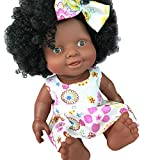 PSFS Baby Movable Joint African Doll Toy Black Doll, Best Gift Toy Intelligence Development Best Gift Interactive Toy (Coffee)