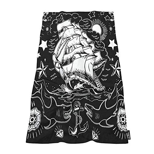 Moslion Soft Bath Towels Apparel Nautical Tattoo Comfy Bathing/Beach/Camping Towel for Women Men Girls Boys Large Size 64×32 Inches