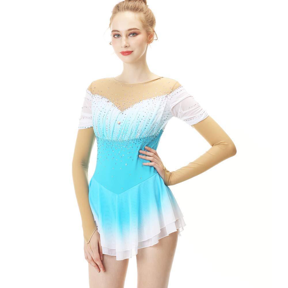 Eislaufen Kleid Für Mädchen Und Frauen, Handarbeit Rollschuhkleid Eiskunstlauf Wettbewerb Professionel Kostüm Mit Kristallen Langärmelig Trikots, Hellblau Weiß B07JX5H8P6 Bekleidung Ruf zuerst