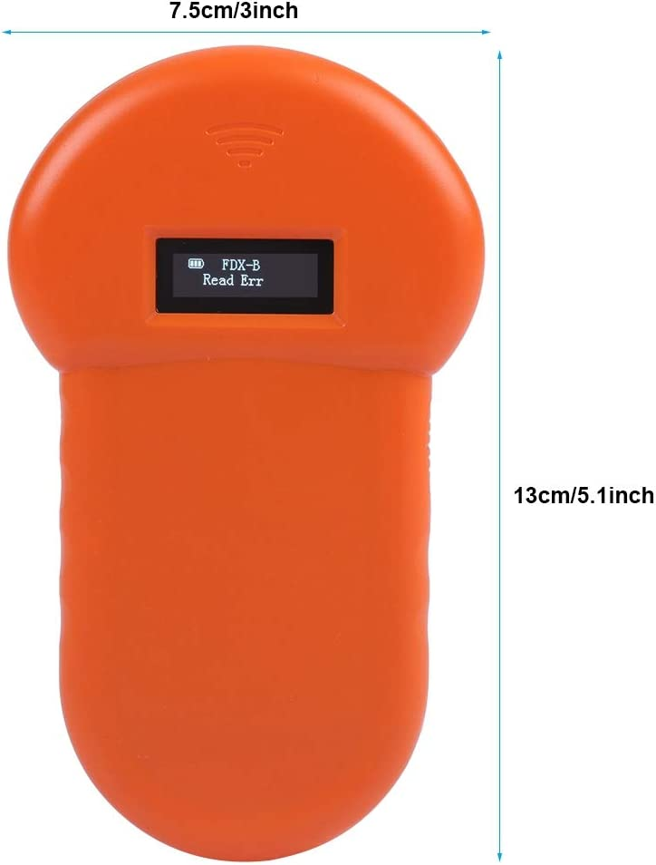 Pet Microchip Scanner 134.2kHz ISO11784//ISO11784//FDX-B RFID Pet ID Scanner Rechargeable Animal Chip Scanner with LCD display for Animal//Pet//Dog//Cat//Pig Liyeehao Handheld Microchip Reader