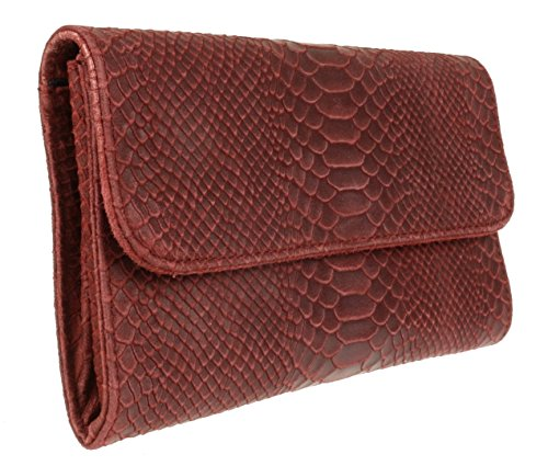 Suede HandBags Clutch Italian Print Burgundy Snake Bag Girly Leather 4fPntqwt