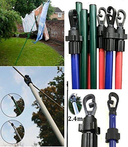 2.4m/8ft Heavy Duty Line Prop Extending Telescopic Clothes Washing Colored Prop Pole Wilsons Direct (1 x 8ft Prop)