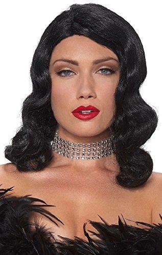 Ladies Sexy Black Shoulder Length Femme Fatale Fancy Dress Costume Outfit Wig -