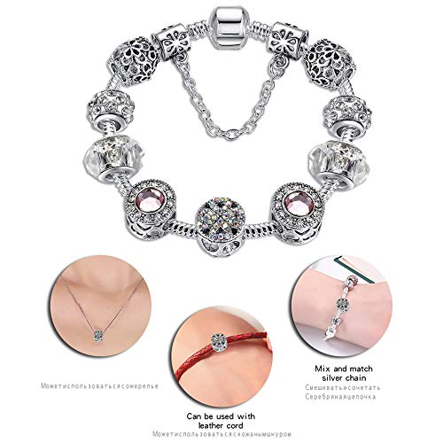 Silver 925 Crystal Four Leaf Clover Clear Beads Charm Bracelet Bangle For Women PS3496 17cm