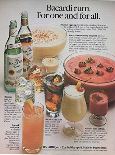Magazine Print Ad: 1982 Bacardi Rum 6 recipesBacardi with Ice Juice Eggnog Strawberry Daiquiri Cola Pina ColadaquotFor one and allquot