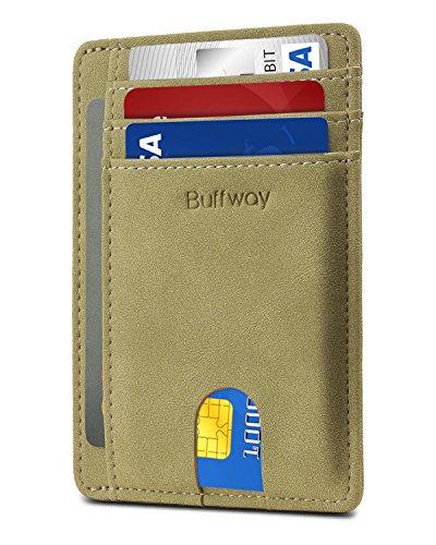 Slim Minimalist Leather Wallets for Men & Women - Meadow Green (Travel Green Wallet)