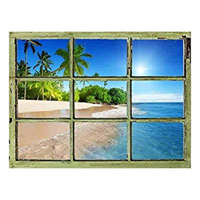 With a Professional Touch, Dazzling Design, Window View Wall Mural Tropical Beach with Palm Trees Vintage Style Wall Decor Peel and Stick Adhesive Vinyl Material