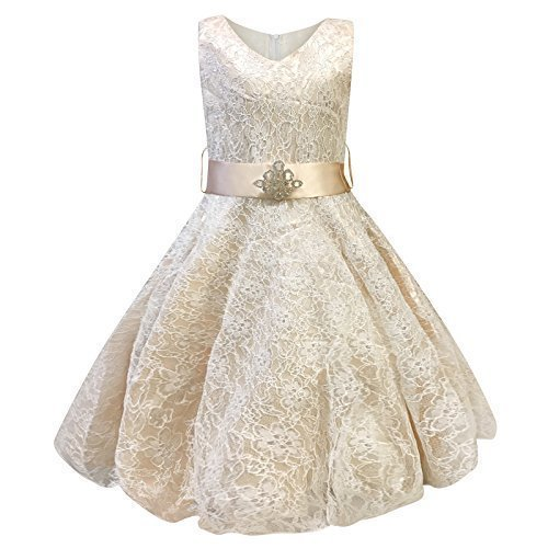 Live It Style It Girls V-Neck Lace Wedding Party Bridesmaid Princess Dance Prom Dresses (7-8 Years, Gold) by Live It Style It