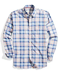 Men's Standard-fit Long-Sleeve Lightweight Madras Plaid Shirt