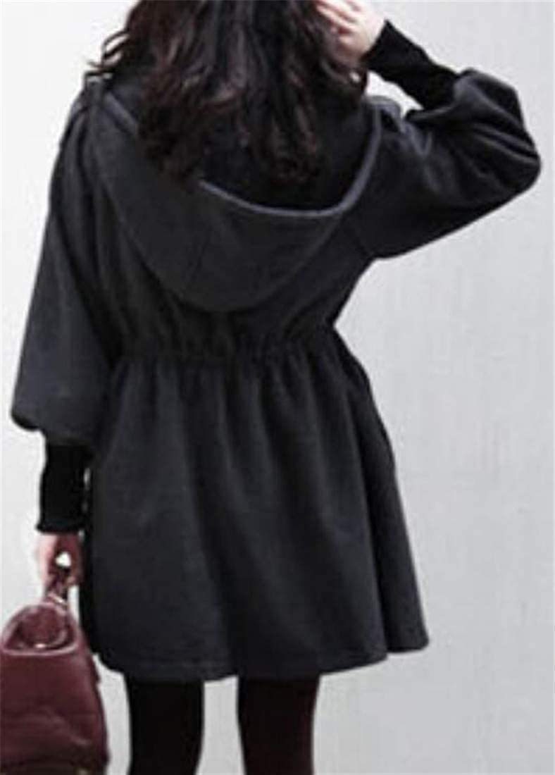 5da10c63195f3 Amazon.com  Cromoncent Womens Plus Size Hooded Wool-Blend Stand Collar  Thicken Outwear Pea Coat  Clothing