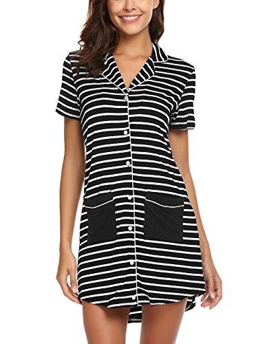 Ekouaer Sleepware Women Short Sleeve Pajama Top Button Down Lapel Cute Sleep Shirt Dress with Pocket X-Large (Sleep Sleepshirt)