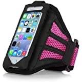 Urban Runner Cycling Running Jogging Fitness Training Exercise Sports Gym iPhone 5, 5S, 5C Adjustable Strap Armband Case Cover Pink