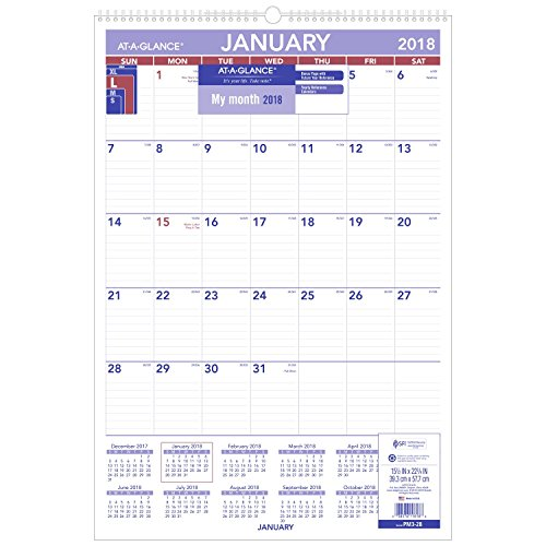 "AT-A-GLANCE Monthly Wall Calendar, January 2018 - December 2018, 15-1/2"" x 22-3/4"", Wirebound (PM328)"