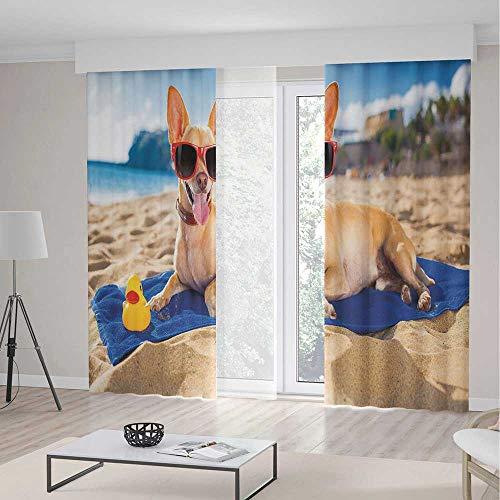 Gold Smiling Sun Charm - Window Curtains,Funny,Theme Home Decor Dining Room Bedroom Curtains for Kids Room Window Treatments,Chihuahua Dog at The Ocean Shore Sunbathing Smiling Coastal Charm Print,2 Panel Set,157