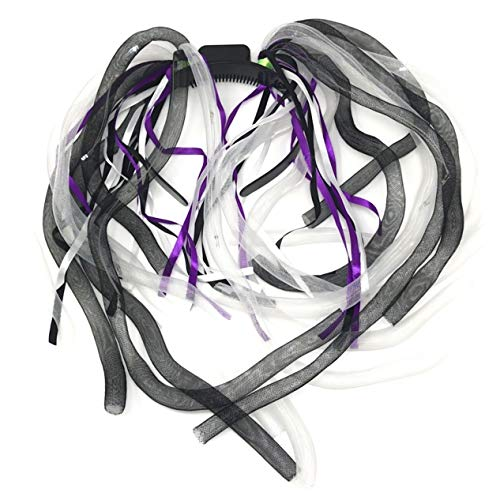 Rave LED-Light Dread Dreadlocks Headband-Light up Hair-Wig, Mardi Grass Costume Party, Music Festival Black/White -