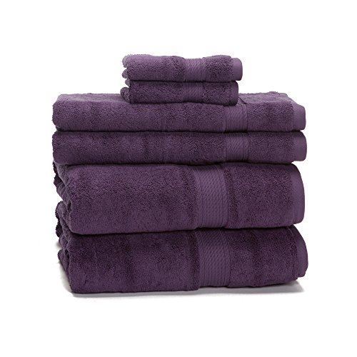 Set Plum (900 Gram 6-Piece Long Staple Cotton Towel Set - Heavy Weight & Absorbent by ExceptionalSheets, Plum)