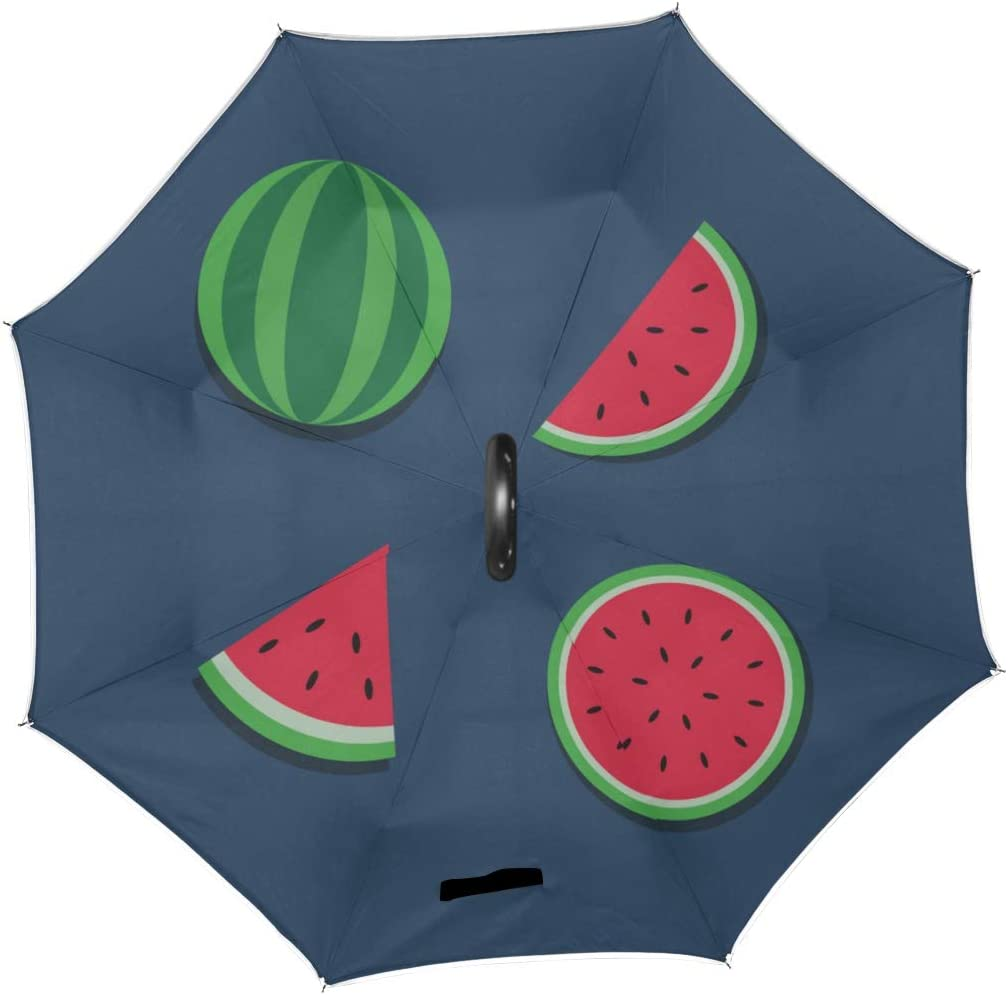 Double Layer Inverted Inverted Umbrella Is Light And Sturdy Watermelon Editable Reverse Umbrella And Windproof Umbrella Edge Night Reflection