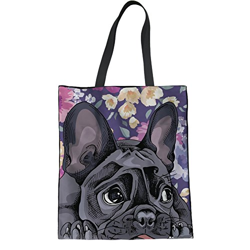 (Coloranimal Gym Sports Travel Hiking Inner Pocket Linen Tote Bag French Bulldog Linen Tote Bag Summer Beach Bags for Women Ladies Lightweight Carrier Organization)