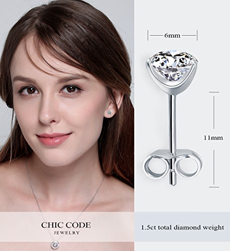 ''STUNNING FLAME'' 18K Gold Plated Silver Brilliant Cut Simulated Diamond CZ Stud Earrings (white-gold-plated-sterling-silver, 1.5) by Chic Code (Image #4)