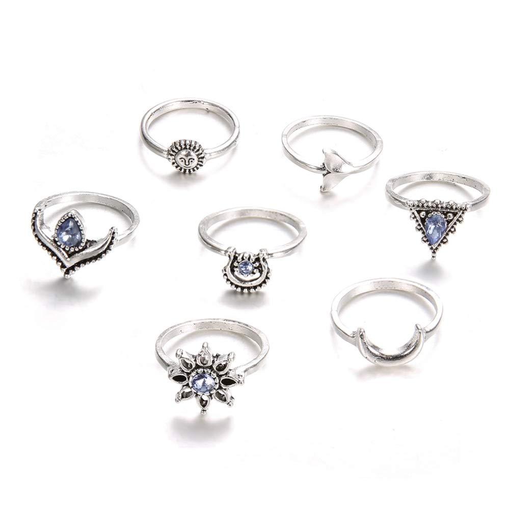 Desirepath Boho Rings for Women Knuckle Rings for Girls Stackable Midi Joint Finger Ring Set Silver