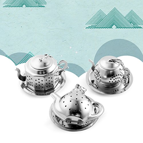 Sherry Tea Infuser Stainless Steel Loose Leaf Tea Strainer with Chain and Drip Trays Premium Tea Filter Mini TeaPot(Pack of 3) by Sherry US (Image #4)