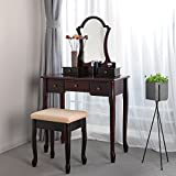 SONGMICS Vanity Set with Lotus Shaped Mirror Makeup Dressing Table Cushioned Stool 5 Drawers Dark Brown URDT08Z
