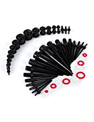 Black Taper Plug Kit 36 Pieces 14G-00G with 144 Bonus Red and Black Silicone O-Ring Stretching Gauges