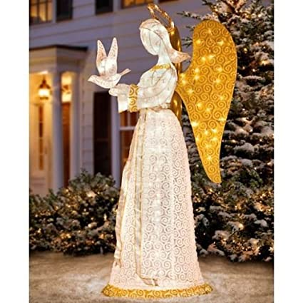 60 lighted heavenly christmas angel holding dove sculpture outdoor yard decor - Lighted Angel Outdoor Christmas Decorations