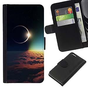Protector de cuero de la PU de la cubierta del estilo de la carpeta del tirón BY RAYDREAMMM - Apple Iphone 5C - Espacio Galaxy