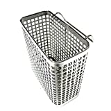 Small Square Stainless Steel Perforated Cutlery Basket Sink Rack Storage Silver by Stopia