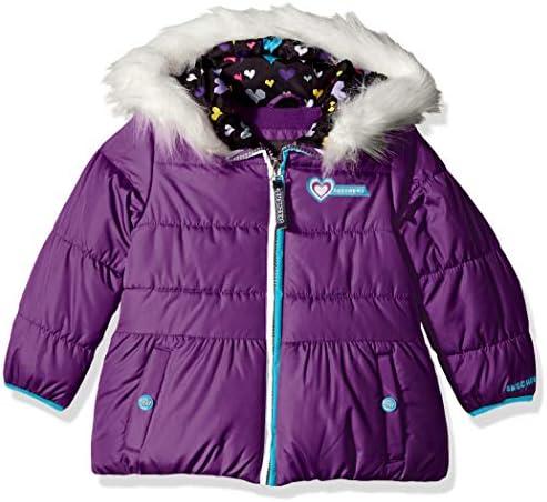 Skechers Girls Heavyweight Puffer Jacket with Cozy Trimmed Hood