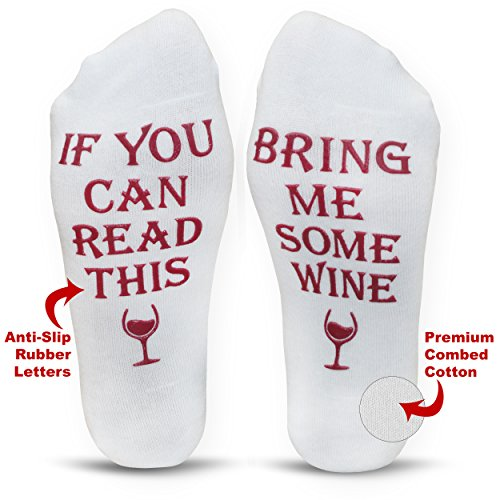 Funny Wine Socks with Gift Box ''If You Can Read This Bring Me Some Wine'' Phrase   Perfect Birthday or Hostess Gift Idea for Her, Women, Wine Lover   Present ForWife   Novelty Gift Under 20 Dollars by Cavertin (Image #3)
