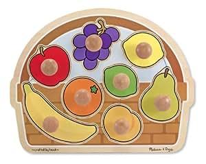 Melissa & Doug Fruit Basket Jumbo Knob Wooden Puzzle (8 pcs)