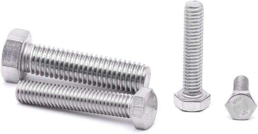 """1/4-20x2-1/2"""" (1/4"""" to 3"""" Available) Hex Head Cap Screw Bolts, 304 Stainless steel 18-8, Flat Point, Fully Machine Thread, Bright Finish, 8 PCS by Eastlo Fastener"""