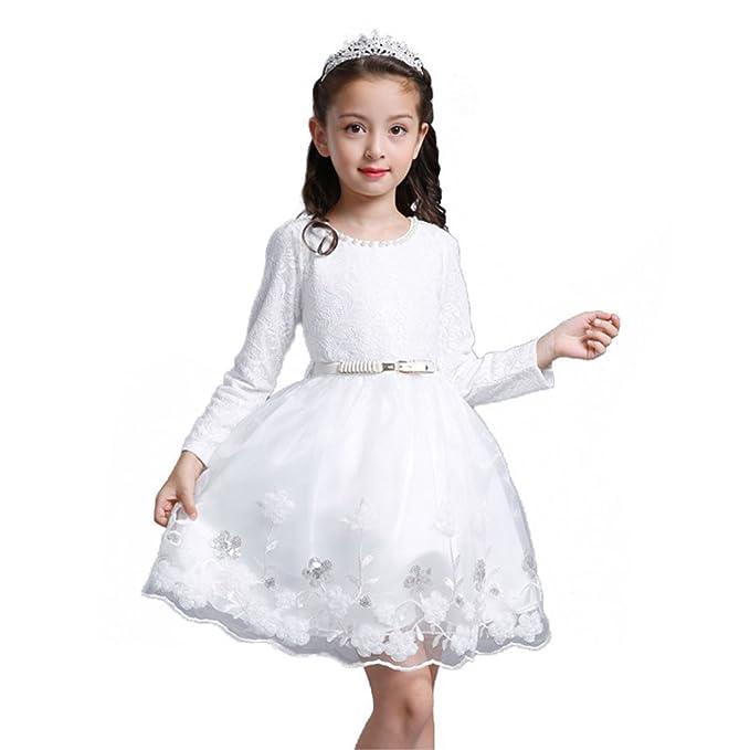 Vestidos Mangas Largas Vestido Otoño - Vestido Niñas Encaje Vestidos Formales Fiesta Cumpleaños Festivales Blanco 110CM