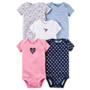 Carters Baby Girls 5 Pack Bodysuits (Baby) - Wild About Daddy-NB