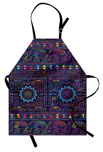 Psychedelic Apron by Ambesonne, Traditional Middle Eastern and Moroccan Persian Baby Elephants Artwork Print, Unisex Kitchen Bib Apron with Adjustable Neck for Cooking Baking Gardening, (Psychedelic Elephant Baby Costumes)