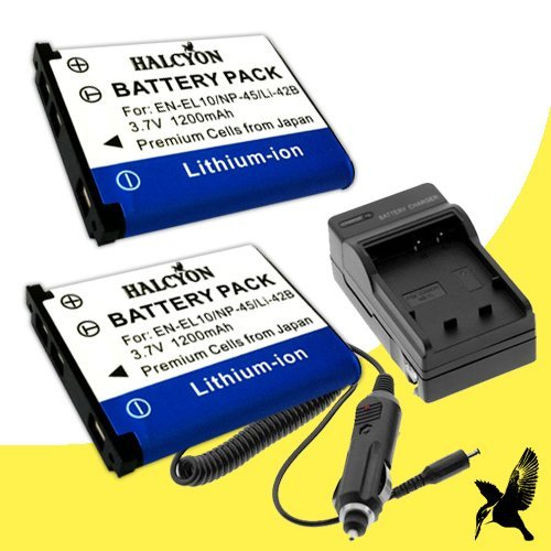 Two Halcyon 1200 mAH Lithium Ion Replacement Battery and Charger Kit for Fujifilm NP-45A and Fujifilm Finepix XP80 XP70 XP60 XP10 XP20 XP30 Z80 Z81 Z91 XP50 XP60 XP70 XP80 INSTAX Mini 90 Digital Camera and Fujifilm NP45A